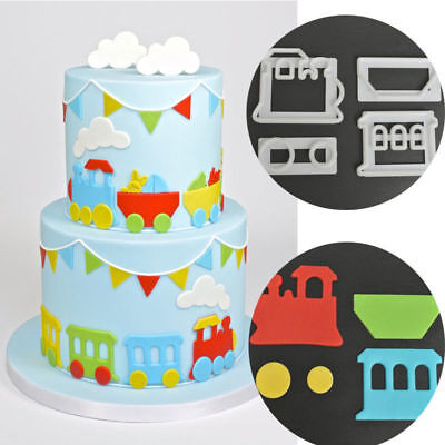 4pcs Train Icing Cutter Fondant Mould Cake Decorating Cookie Mold Sugarcraft DIY