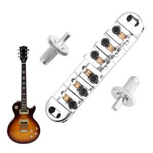 Roller Saddle Locking Tune-O-Matic Bridge Chrome For Les Paul Guitar New