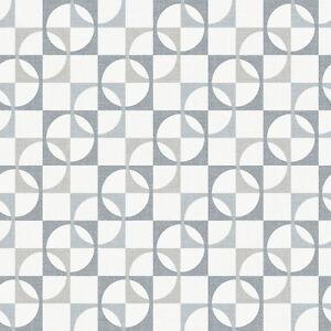 papier peint rasch luxe r tro g om trique carreaux motif en gris 277128. Black Bedroom Furniture Sets. Home Design Ideas