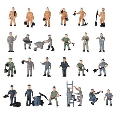 25pcs 1:87 Figurines Painted Figures Miniatures of Railway Workers with Buc N8V7