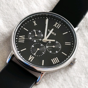 Timex Day-Date-24hr Leather Watch