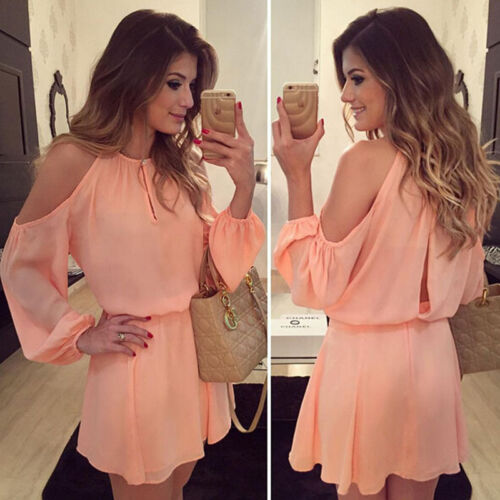 Sexy Women Summer Casual Long Sleeve Party Evening Cocktail Short Mini Dress US