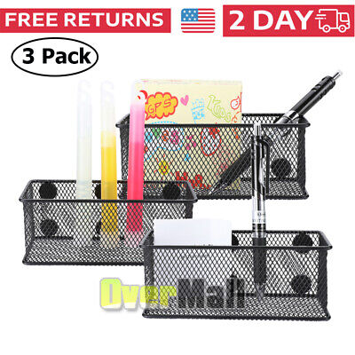 Set Of 3 Heavy Duty Wire Mesh Magnetic Storage Baskets Office Supply Organize Us