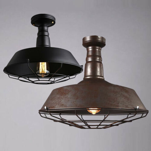 Light Fixtures: Rustic Industrial Barn Cage Ceiling Light Semi Flush Mount