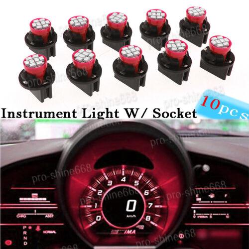 10x RED T10 8SMD LED Bulbs Instrument Gauge Cluster Dash Light 13mm W/ Sockets