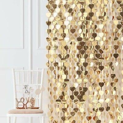 Photo Booth Hintergrund Vorhang Herzen gold   Backdrop Gold Party-Deko Hochzeit