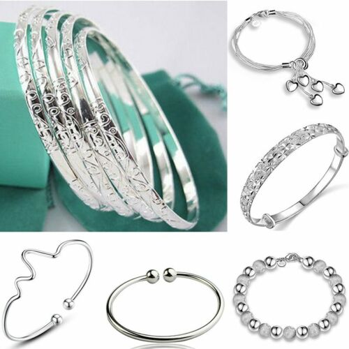 Gold Silver Lucky Number 8 Designed Love Heart Chain Bracelet Bangle Jewelry OOQ