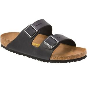 Mens New Black Leather Birkenstock Leather Sandals 13-13.5