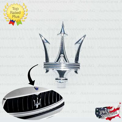 Maserati Front Grille Emblem Chrome Trident Logo Badge Radiator Symbol 670005377