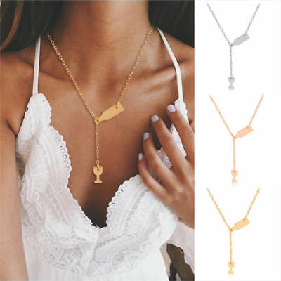 Women Novelty Wine Beer Cup Bottle Pendant Stainless Steel Necklace Gift Jewelry (Novelty Necklaces)