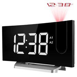 5 LED Display Digital Projection Clock FM Radio Alarm Clock & USB Charging Port