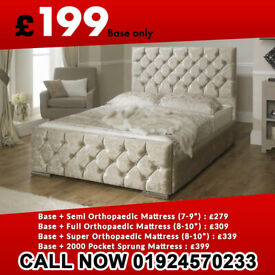 Same Day Delivery Double King Size Crush Velvet Chesterfield Bed Frame