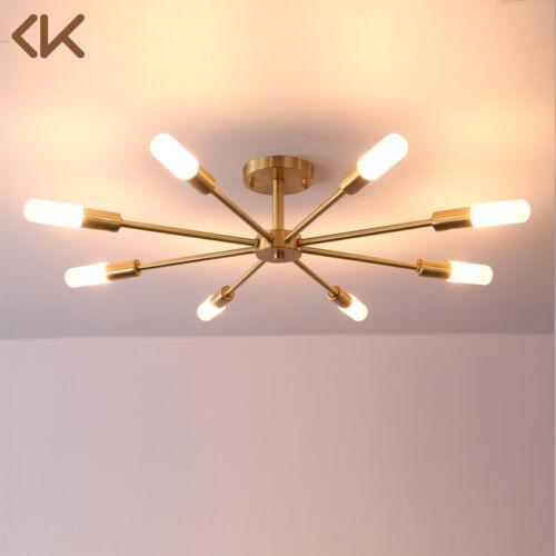 8 Light Glass Brass Sputnik Semi Flush Mount Ceiling Light C