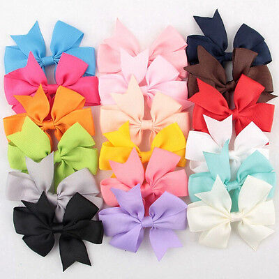 18Pcs/Bag Hair Bows Kids Cloth Ribbon Boutique Lovely No Cli