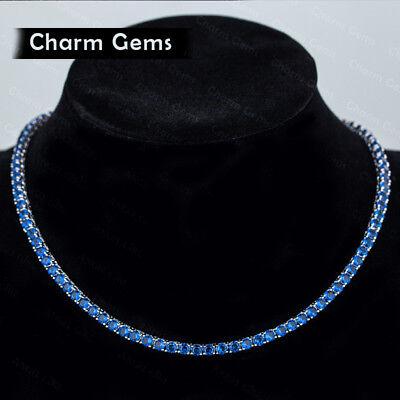 Wedding Gift Round Cut Multi Blue Topaz Gems Silver Charming Necklace 18 Inch Blue Topaz Round Necklace