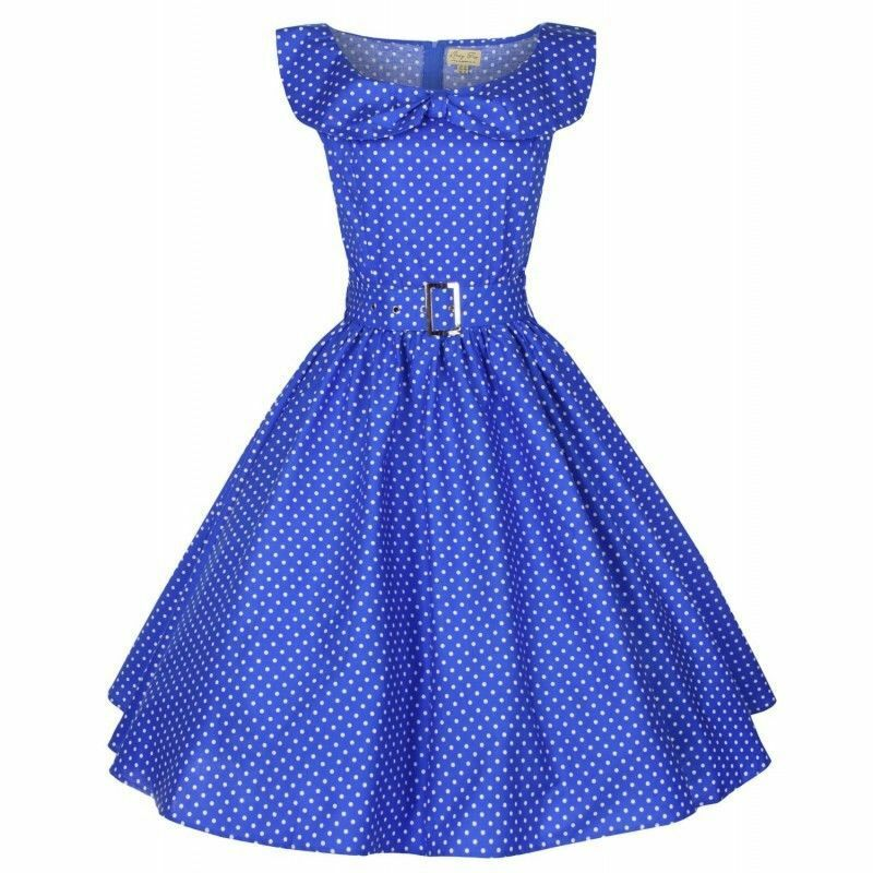 New 2X 50's Blue Swing  Dress Polka Dot Collar Pin Up Retro Vintage ModCloth