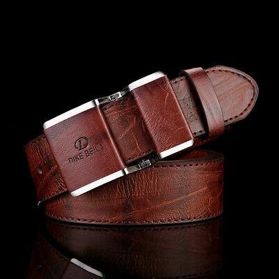(New Men's Waist Belt Leather Covered Buckle Dress Designer Fashion Brown/White )