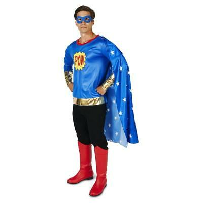 Mens Super Hero Costumes (NW POP ART COMIC SUPER HERO MAN ADULT COSTUE Comic Book with large, mesh)