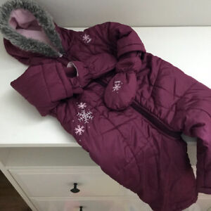 Roots Girls Snow Suit Burgundy w Pink Fleece lining size 6-12 mo