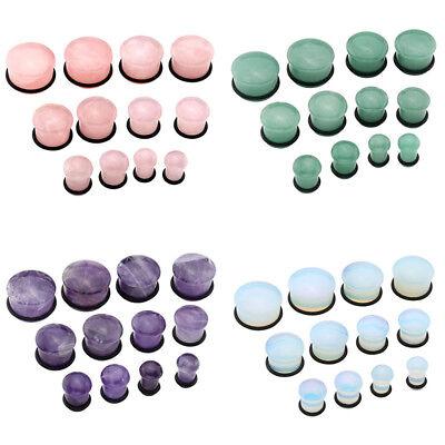 Natural Stones Gems Mushroom Head Single Flared Expander Body Ear Stretcher Plug - Head Ear Plug