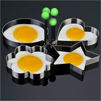 4PC Thick Stainless Steel Omelette Egg Mold Control Rice Various Cute Egg Shape