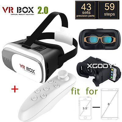 VR BOX Google Cardboard Headset Virtual Reality 3D Glasses + Bluetooth Control