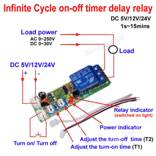 DC 12V Infinite Cycle Delay Time Switch Relay Timer Turn ON/ Turn OFF Trigger