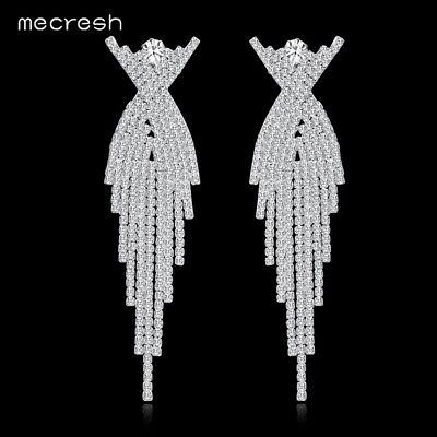 Mecresh Women Crystal Owl Shape Tassel Earring Engagement Bridal Jewelry MEH1175