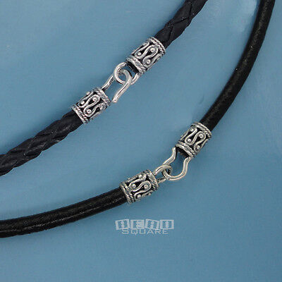 Sterling Silver Black Genuine Leather Cord Necklace w/ Antiqued Fish Hook Clasp Black Leather Sterling Silver Necklace