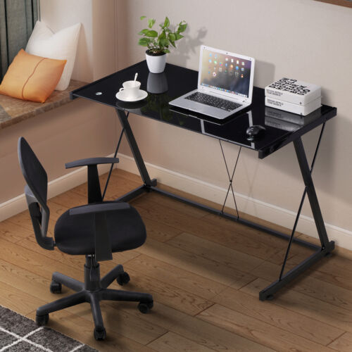 Computer Desk PC Laptop Glass Table Black Workstation Office