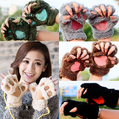 Winter Women  Cat Claw Paw Plush Mittens Short Fingerless Gloves Half Finger - Cat Paw Gloves