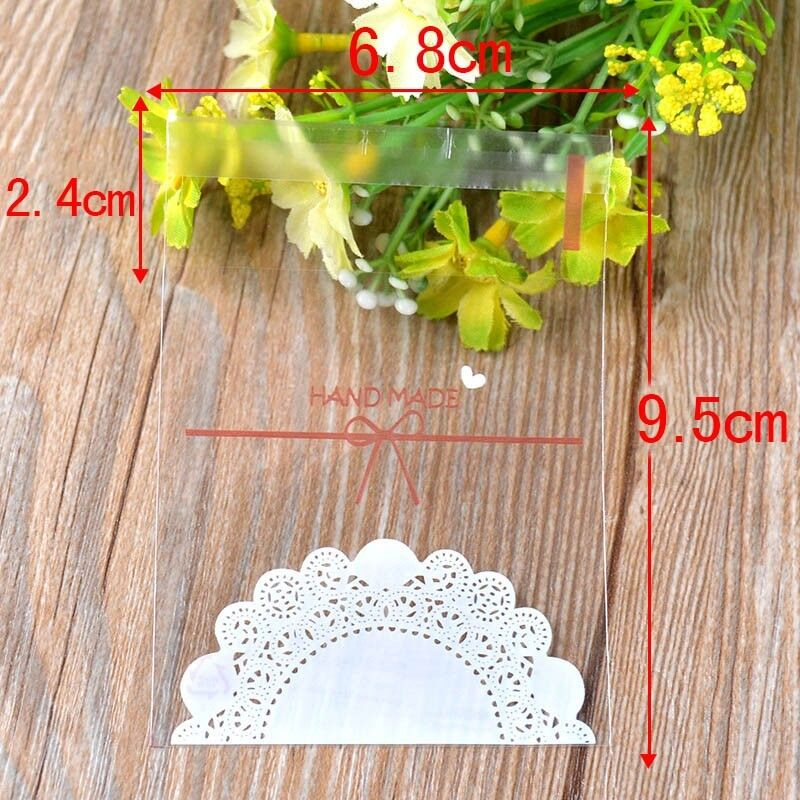 Hot 100Pcs Hand Made Lace Bowknot Plastic Self-adhesive Soap Cookie Biscuit Bags