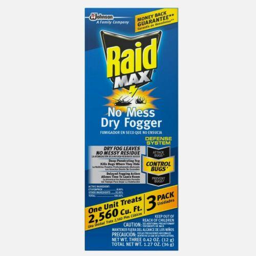 3 pk RAID MAX FOGGER Bomb Kills Prevent Roaches, & Bugs Infestations 00892
