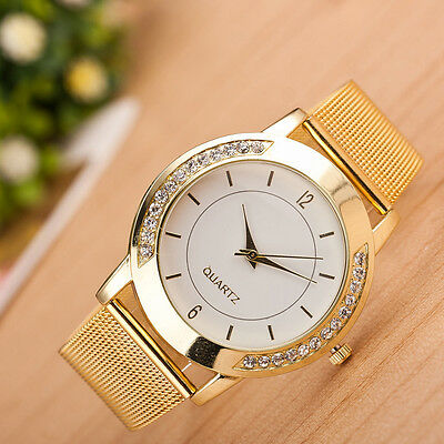 $2.29 - Women Luxury Stainless Steel Jewelled Bracelet Watch Analog Quartz Wrist Watches