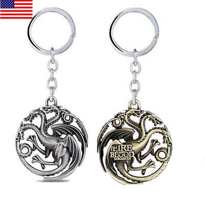 USA Game of thrones House Targaryen Keychains Metal Predant Keyring Fans Gift