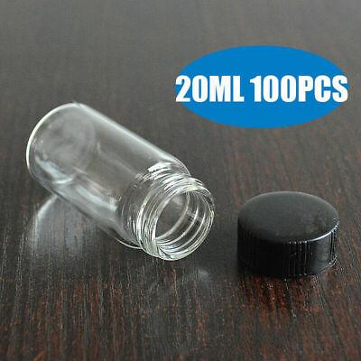 100pcs 20ml Clear Glass 24-400 Thread Storage Vial W Cap Travel Storage Bottle