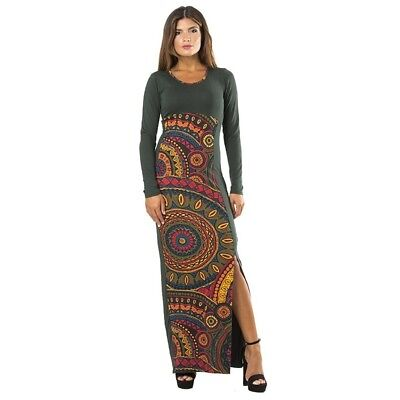 Italienische Damen Langarm (Kleid Damenkleid Langarm Kreise zwei Farben Gr. S bis L italienische Mode)
