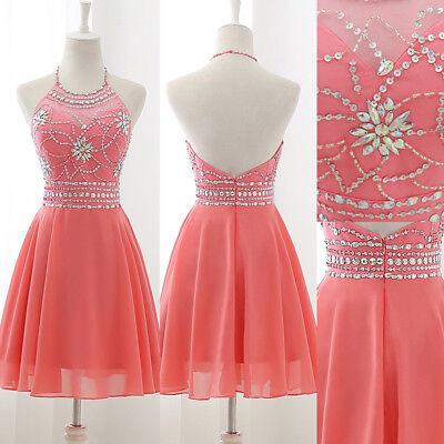 US Chiffon Short Prom Dress Beaded Homecoming Dress Blue Halter Party Ball - Chiffon Short Dress Prom Dress