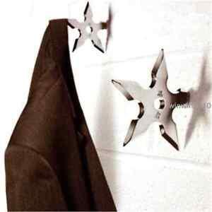 1PCS Ninja Star Coat Hook Stainless Steel Throwing Death Coat Rack Wall Hanger