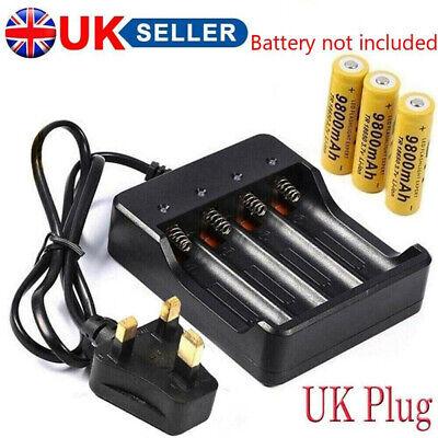 4X 18650 Battery 6800mAh 3.7 V Li-ion Rechargeable Battery Slot Charger UK Plug