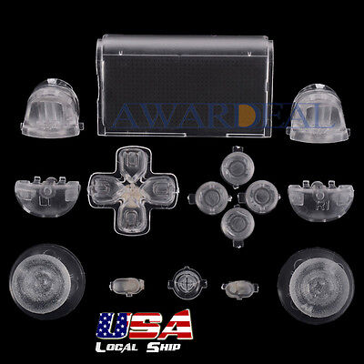 Customized Full Buttons Mod Kits R1L1R2L2 Triggers for PS4 Controller Clear