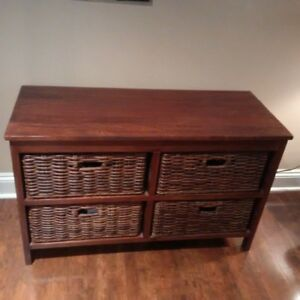 Sturdy TV Stand with functional wicker drawers