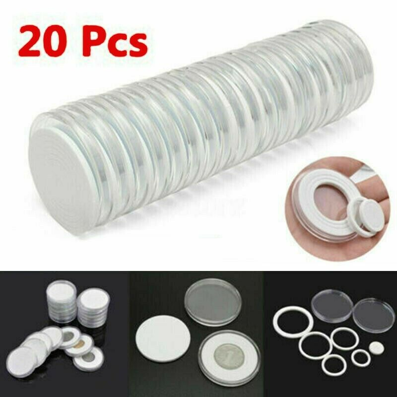 20Pcs 46mm Clear Coin Capsule Round Plastic Holder Container Storage Box Case US