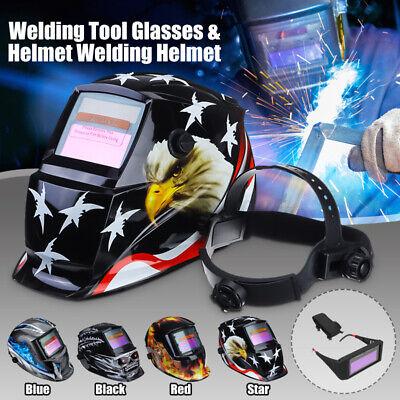 Pro Solar Powered Auto Darkening Welding Helmet Grinding Welder Mask Blac