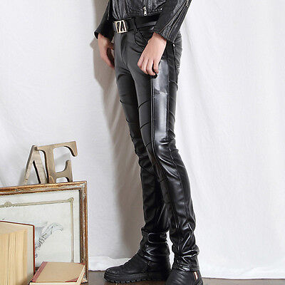 Sexy Man Faux Leather Pants Biker Motorcycle Trousers Tight Pencil Pants No Belt