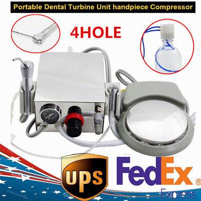 New Portable Dental Lab 4-hole Turbine Unit Work Air Compressor 3-way Syringe Us