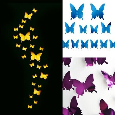 Wall Decor 12PCS Butterfly Mirror Wall Stickers Quotes for H