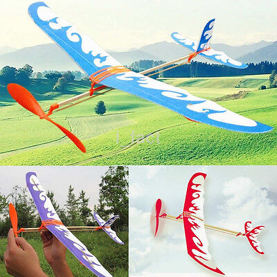 Multicolor Glider Rubber Band Elastic Powered Flying Plane Airplane Model Toy
