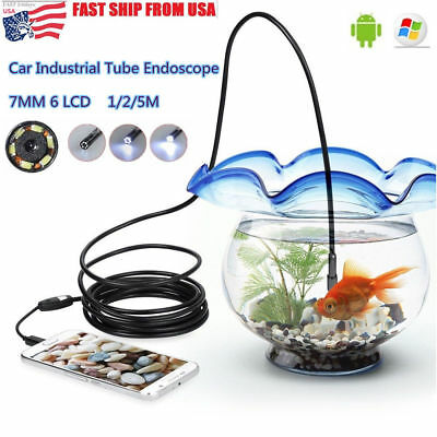 6 Led 7mm Endoscope Waterproof Inspection Borescope Camera 1m Cable For Android