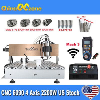 Cnc 6090 4axis 2200w Milling Engraver Machine Mach 3 Usb Cnc Diy Router Us Stock
